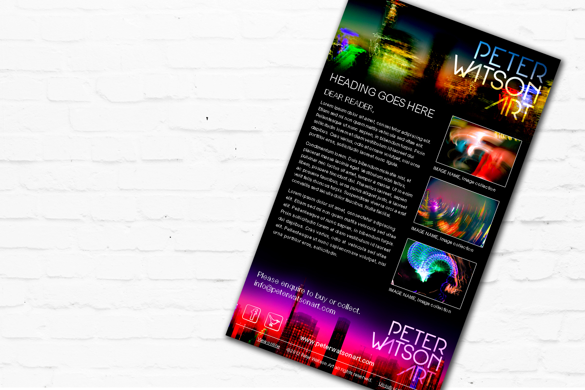 Email Marketing Material for Peter Watson Art | Brand for Brands Agency